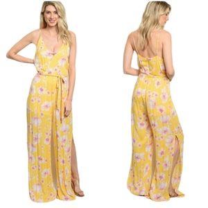 Chloe Yellow Tie Waist Side Slit Floral Jumpsuit